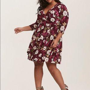 Torrid Floral Print Faux Wrap Dress